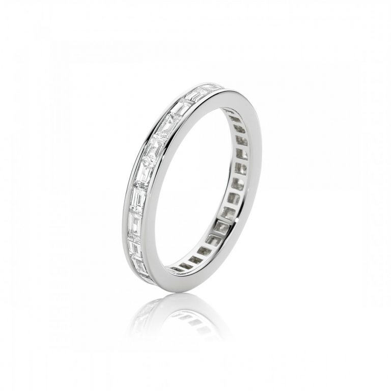 Baguette White Diamond Channel Set Band Ring