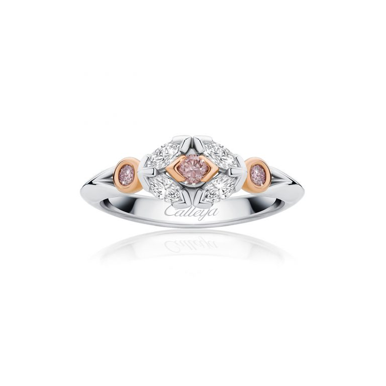 marquise cut white and pink diamond ring