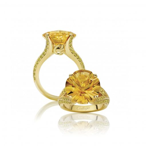 Adhara Citrine and White Diamond Ring