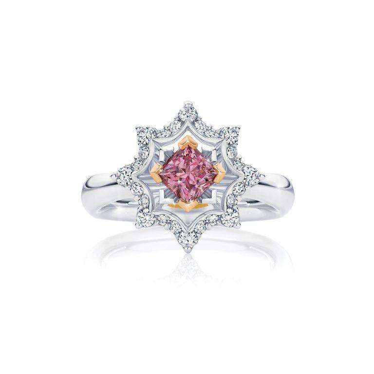 Amaryllis White and Argyle Pink Diamond Ring