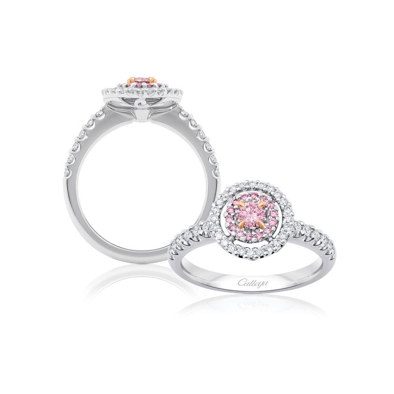 aurora white argyle pink diamond ring