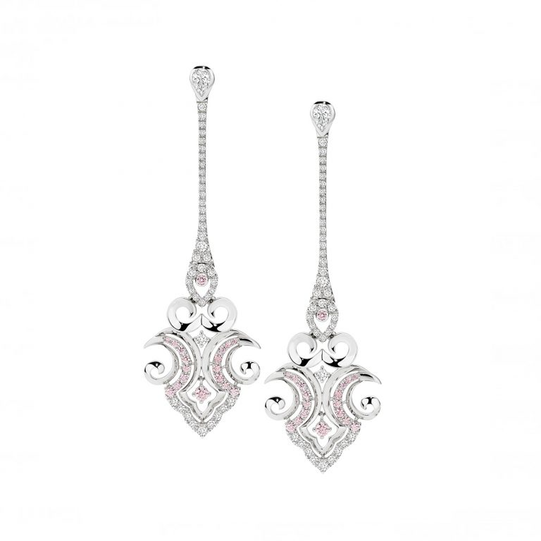Aveline White and Argyle Pink Diamond Drop Earrings
