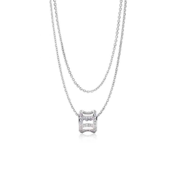 Coronet Platinum and White Diamond Pendant