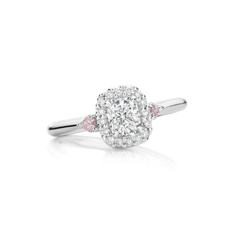 Glacier White Diamond Ring with Pink Diamond Hearts