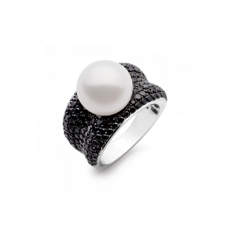 Kailis Pearl and Black Diamond Adored Ring