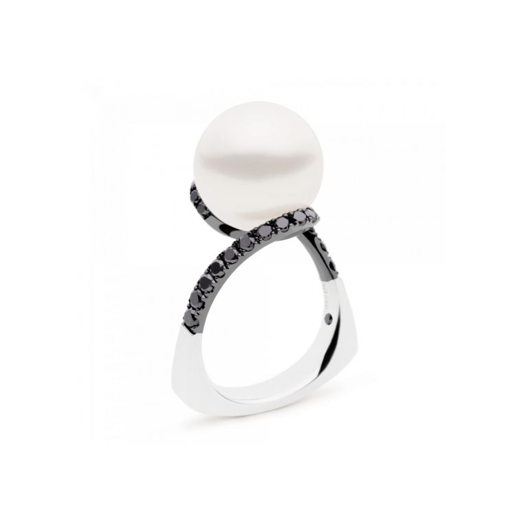 Kailis Pearl and Black Diamond Angelic Ring