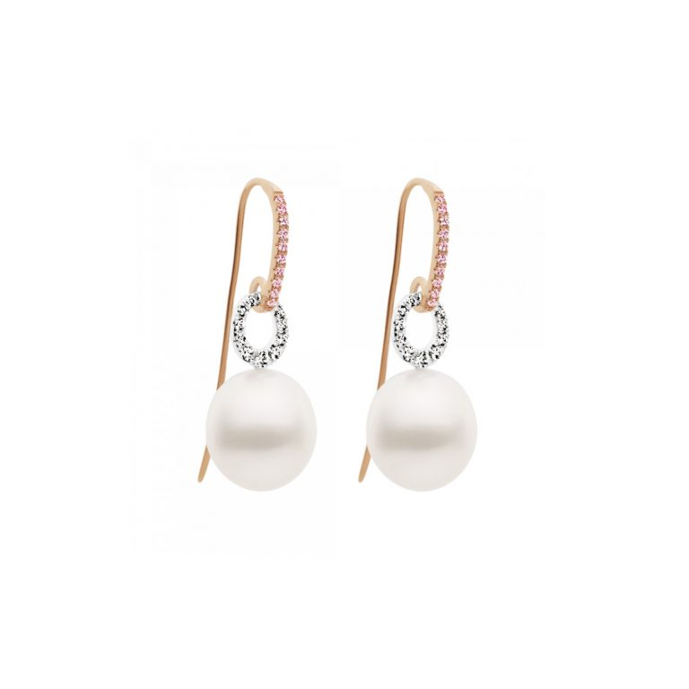 Kailis Pearl and Pink Diamond French Hook Earrings
