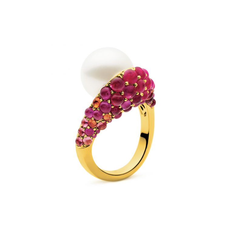 kailis pearl gemstone and white diamond dance ring