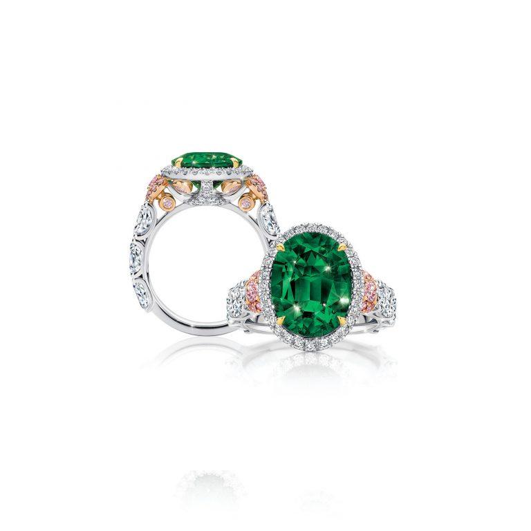 Muzo Emerald and Pink Diamond Ring