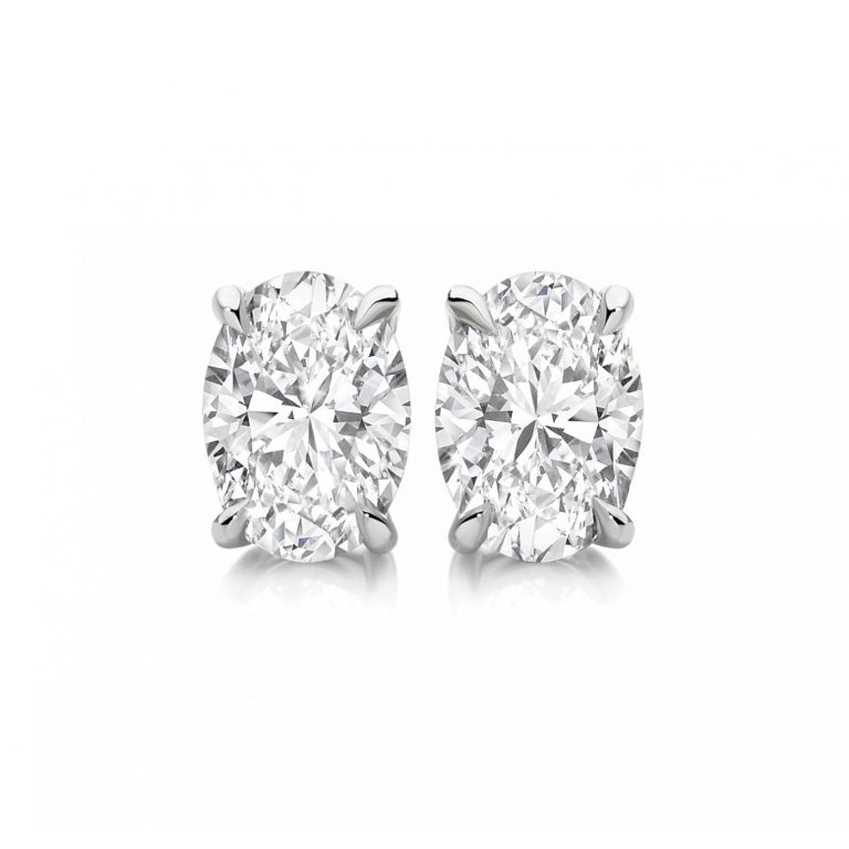 Oval Cut White Diamond Stud Earrings