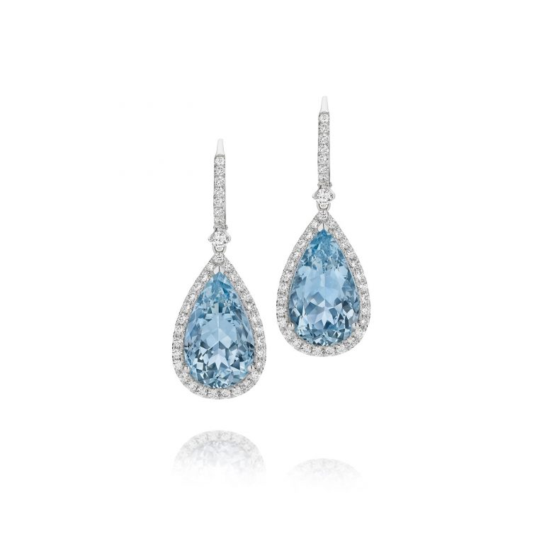 Pear Shaped Aquamarine and White Diamond Earrings