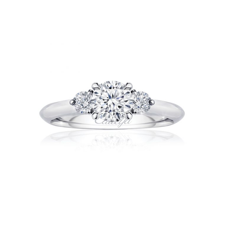Platinum Round Brilliant Cut White Diamond Trilogy Ring