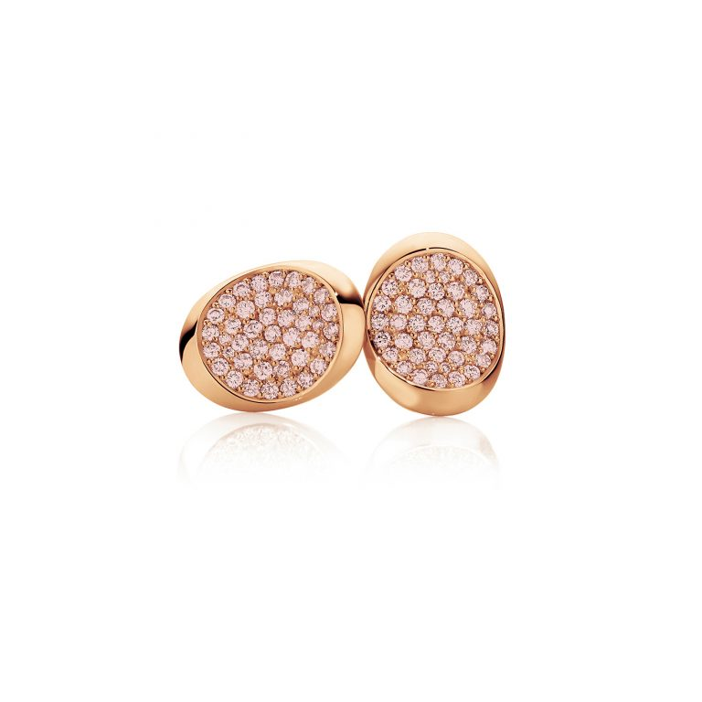 Saddle Rose Gold and Pink Diamond Earrings