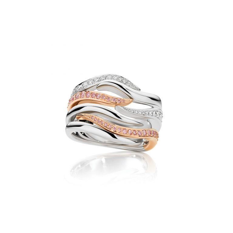 Samudra Pink and White Diamond Wave Ring