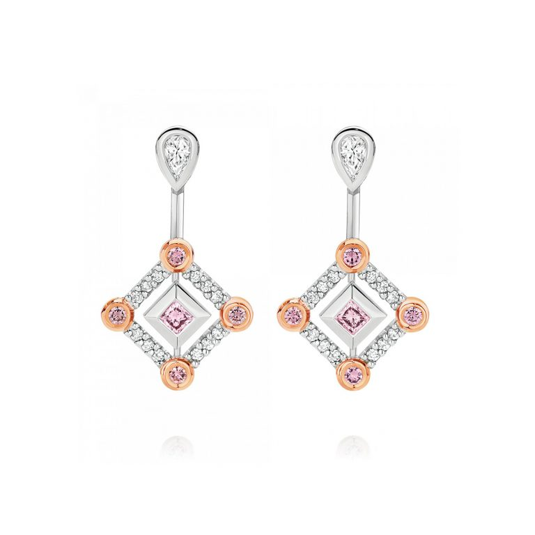 White and Argyle Pink Diamond Drop Earrings