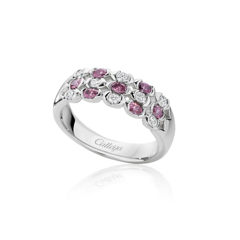 White and Argyle Pink Oval Diamond Ring