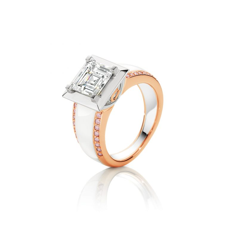 White Carre Cut Diamond Ladies Dress Ring