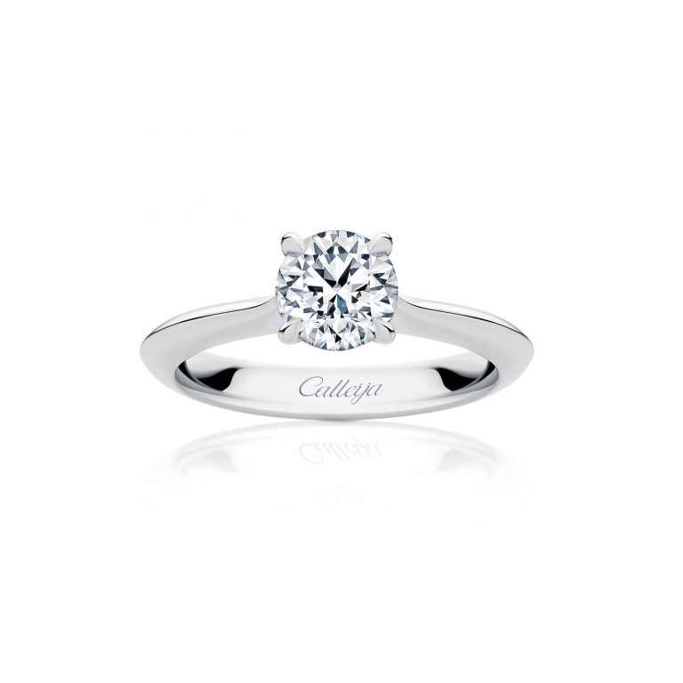White Gold Solitaire White Diamond Ring