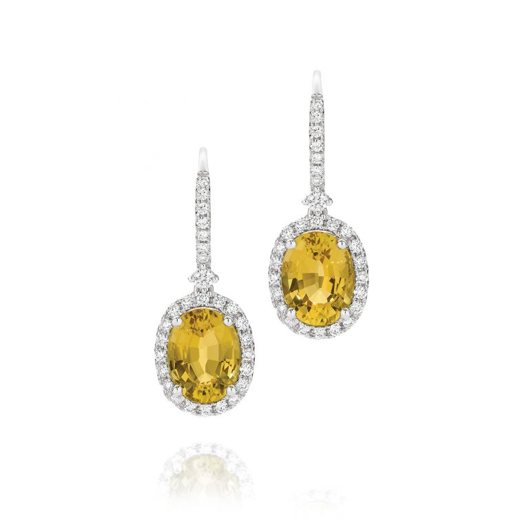Yellow Oval Beryl and White Diamond Earrings