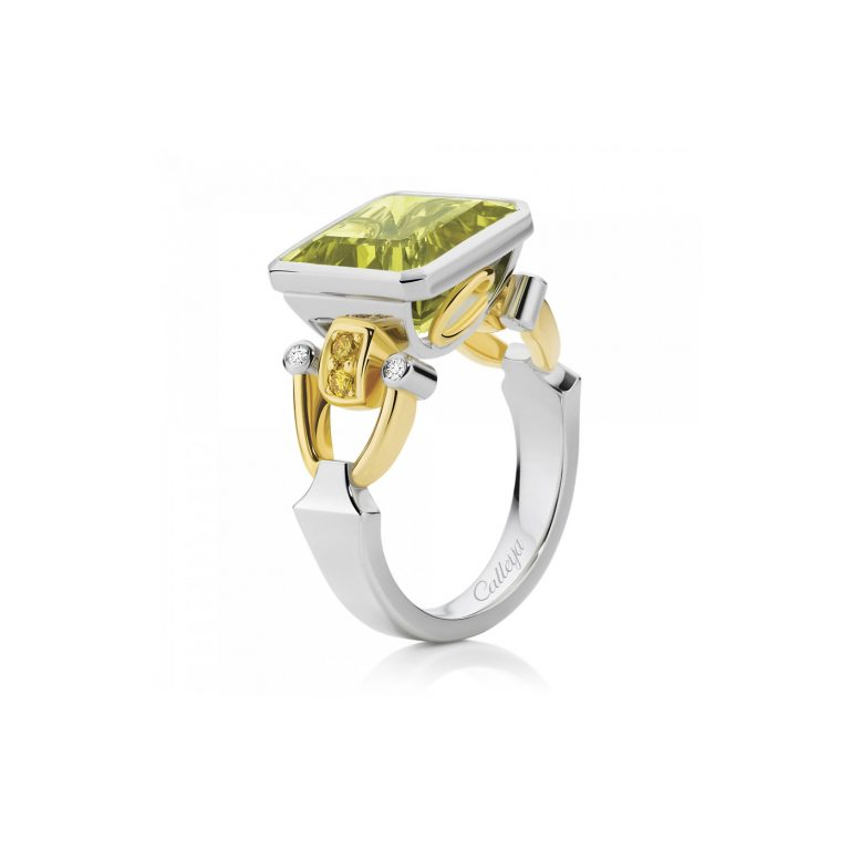 Elegante Lemon Quartz and Fancy Intense Yellow Diamond Ring