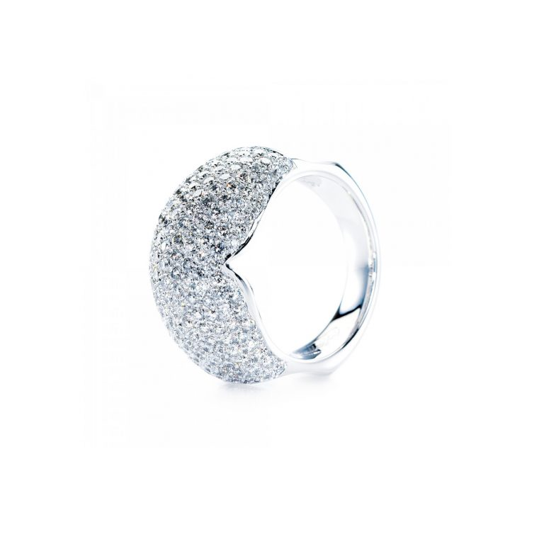Pave Set White Diamond and White Gold Dress Ring