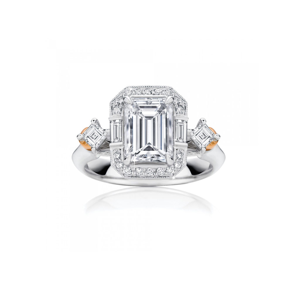 Platinum and Emerald Cut White Diamond Ring