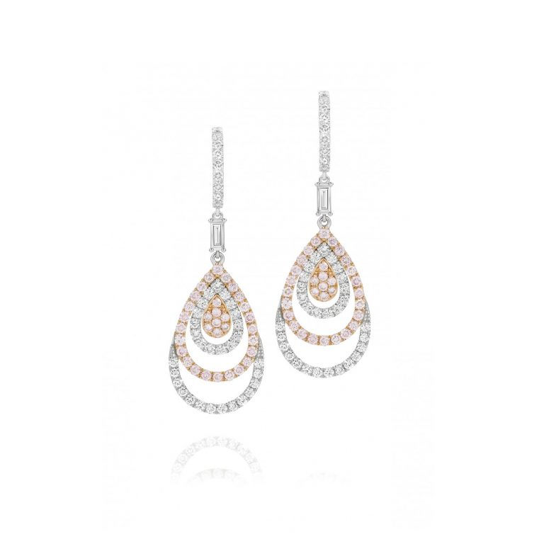 White and Rose Gold Pink and White Diamond Earrings