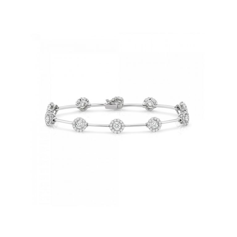 White Diamond Halo Bracelet