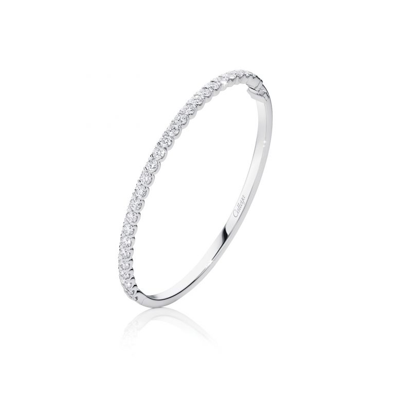 White Gold and White Diamond Set Hinged Bangle