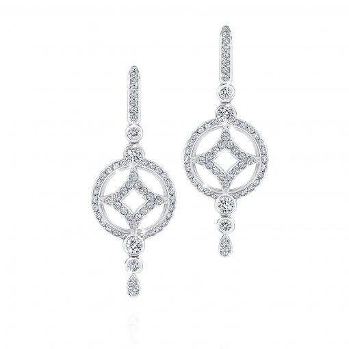18ct White Gold and White Diamond Fancy Drop Earrings