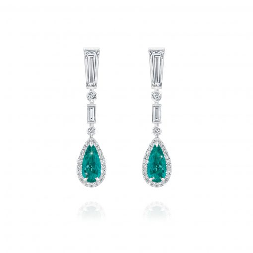 Colombian Emerald and White Diamond Earrings