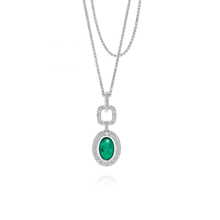 Detachable Emerald and White Diamond Pendant