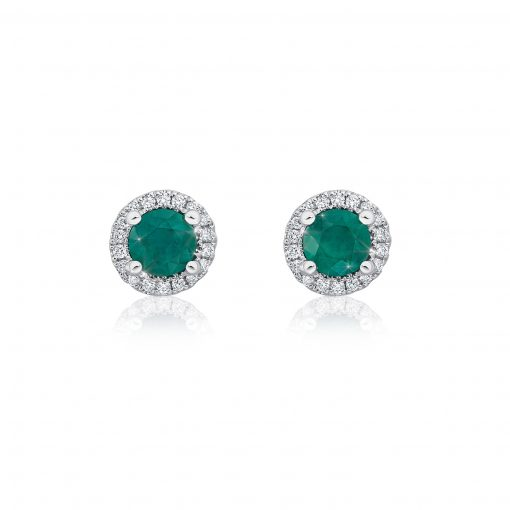Emerald and White Diamond Studs