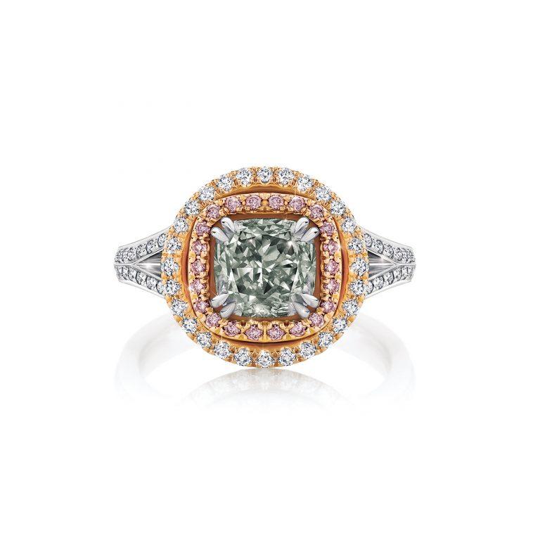 Natural Fancy Grey Diamond Ring with Argyle Pink Diamonds