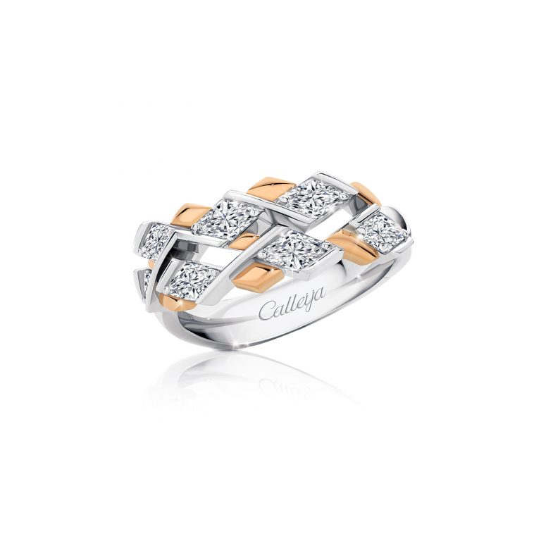 Rose and White Gold Ring featuring Lozenge Cut White Diamonds