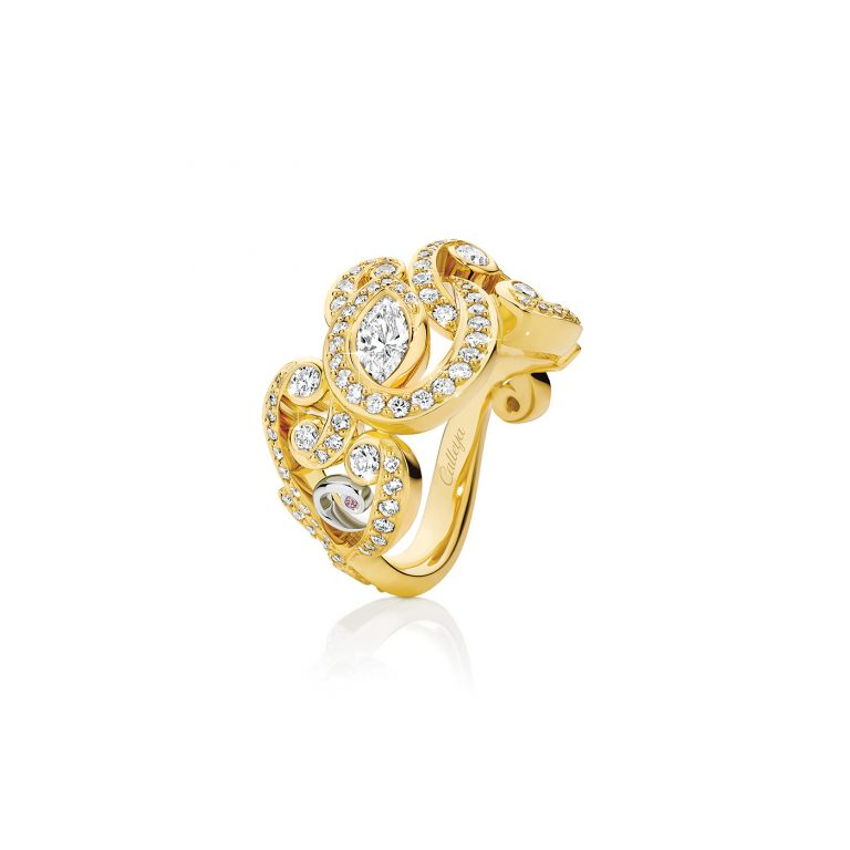 Symphony Yellow Gold and White Diamond Dress Ring