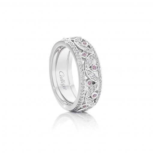 White Gold Argyle Pink and White Diamond Ring