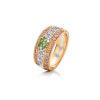 Platinum and 18ct Rose Gold 0.58ct Yellow Green Diamond Ring
